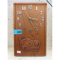 Hand Carved Cedar Wood Clock