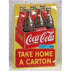 Embossed Tin Coca-Cola Sign