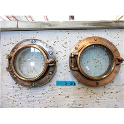 "Pair of Brass 12"" Portholes"