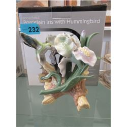 Collectible Porcelain Hummingbird & Iris Statue