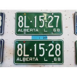 2 Unused Pairs of 1968 Alberta L License Plates
