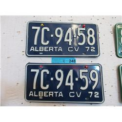 2 Unused Pairs of 1972 Alberta CV License Plates