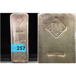 100 Oz Johnson Matthey .999+ Silver Poured Bar