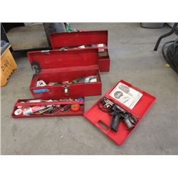 Soldering Gun & 2 Toolboxes with Contents