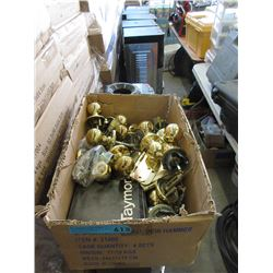Box of Brass Doorknobs & Hinges.