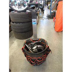 Rolling Tool Caddy Bucket & Circular Saw