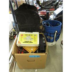 Duffel Bag, Tool Pail & Box of Tools
