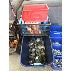 Bin of Plastic Trays & Commercial Casters