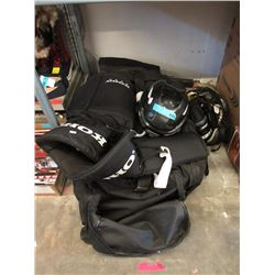 Bag with 2 Helmets & Assorted Hockey Pads