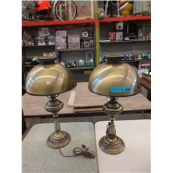 "Pair of 24"" Tall Metal Table Lamps"