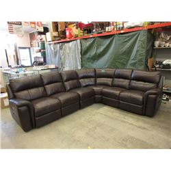 New Brown Leather Power Reclining Sectional