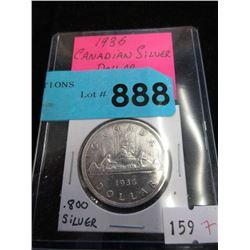 1936 Canadian Silver Dollar Coin - .800 Silver