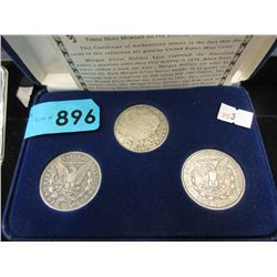 Three Genuine US Mint Silver Morgan Dollar Coins -