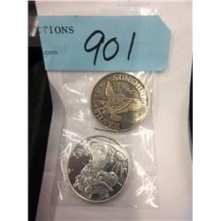 Two 1/2 Oz. .999 Fine Silver Rounds
