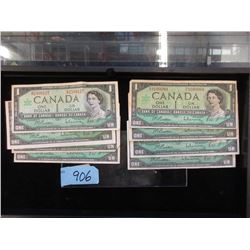 Eight 1967 Canadian Centennial $1 Bills