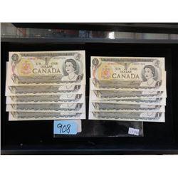 10 Uncirculated 1973 Canadian One Dollar Bills