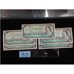 5 Mint Uncirculated Canadian Centennial $1 Bills