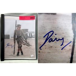 """Daisy Ridley Signed 8"""" x 10"""" Photograph"""
