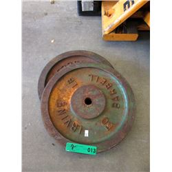 2 Irving 50 LB Barbell Weights
