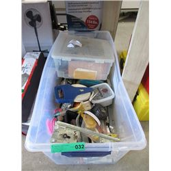 Large Tote of Assorted Tools, Hardware & More
