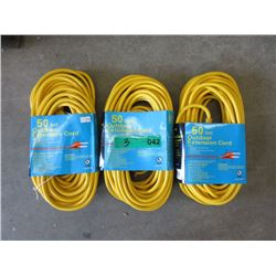3 New 50 foot Outdoor Extension Cords