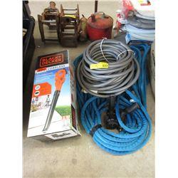 2 Garden Hoses & Black & Decker Cordless Blower