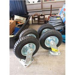 """Four 8"""" Air Tire Swivel Wheels"""