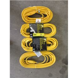 4 New 25ft Outdoor Extension Cords