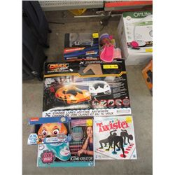 Slot Car Track & 5 Assorted Toys