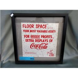 Framed 1960s Rare Coca-Cola Advertising Piece