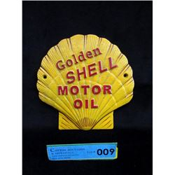 Cast Iron Golden Shell Motor Oil Advertising Sign