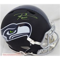 Russell Wilson Autographed Seattle Seahawks Matte Black Speed Full Size Authentic Helmet In Green RW