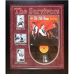 """Carl Perkins, Jerry Lee Lewis and Johnny Cash """"The Survivors"""" Signed Album"""