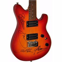 Asia Band Signed Red Orange Starburst EVH Styled Guitar