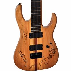 Rage Against The Machine Band Signed Natural Wood Grain Striped Electric Guitar
