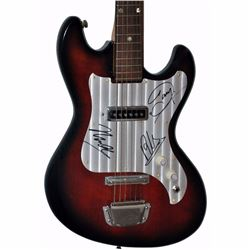 The Bee Gees Band Signed Darkened Sunburst 1950 – 1960's Teisco Stainless Steel Corregated Pick