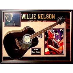 Willie Nelson signed guitar Collage