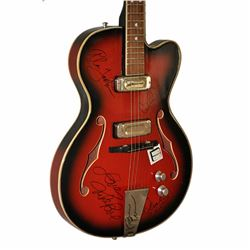 The Beach Boys Band Signed Reddish Brown Dark Shadowed 1950 – 1960's Double Cut Hollow Bodied Ja