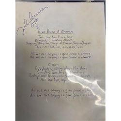 "John Lennon ""Give Peace a Chance"" Signed Lyrics"
