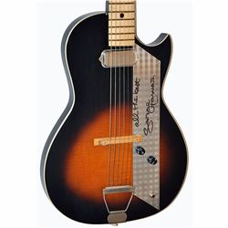 George Harrison Signed Lightened Sunset 1950 – 1960s Airline Checkered Stainless Steel Pick Guard