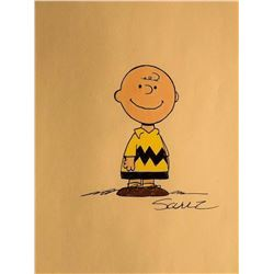 """Charles Schulz """"Charlie Brown"""" Signed and Drawn  Sketch"""