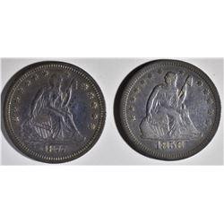 1856 F/VF & 1877-S AU/BU SEATED QUARTERS