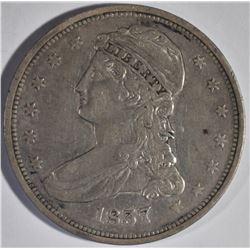 1837 REEDED EDGE BUST HALF DOLLAR XF,