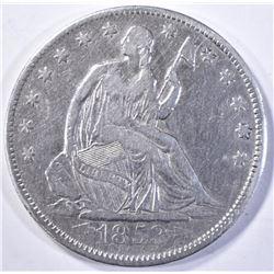1853 ARROWS & RAYS SEATED HALF DOLLAR VF