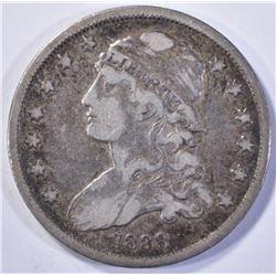 1838 CAPPED BUST QUARTER  CHOICE VF