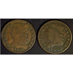 1809 VG & 1826 FINE HALF CENTS