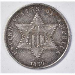 1859 THREE CENT SILVER  CH AU