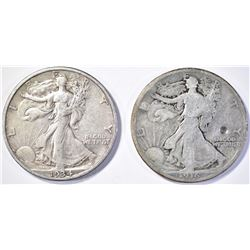 (2) WALKING LIBERTY HALF DOLLARS  1916 VG