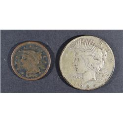 1934-S PEACE DOLLAR F & 1846 LARGE CENT LOW GRADE