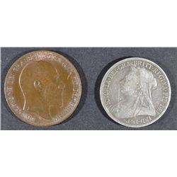 1900 OLD HEAD FLORIN 2-SHILLING &
